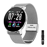 TagoBee TB11 Smartwatch Hombres Bluetooth IP68 Pulsera Inteligente Impermeable Reloj Movil HD Touch Screen Fitness Tracker Compatible con Android y iOS para Hombres Mujeres (Plata)